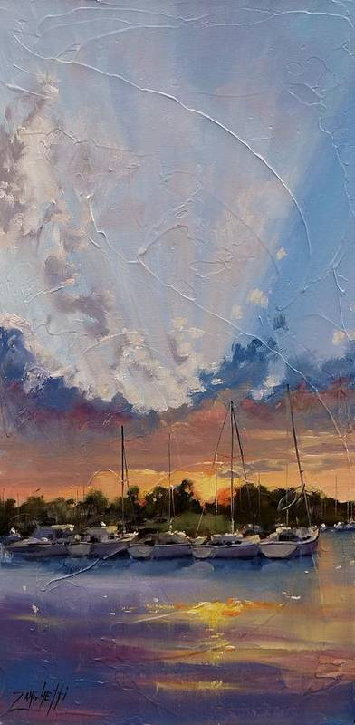 Sunset Art Print featuring the painting Sunset Over Bay Point by Laura Lee Zanghetti