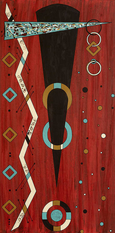 Abstract Tribal Art Print featuring the painting Urban Petroglyph Series Number 7 by Debra Jacobson