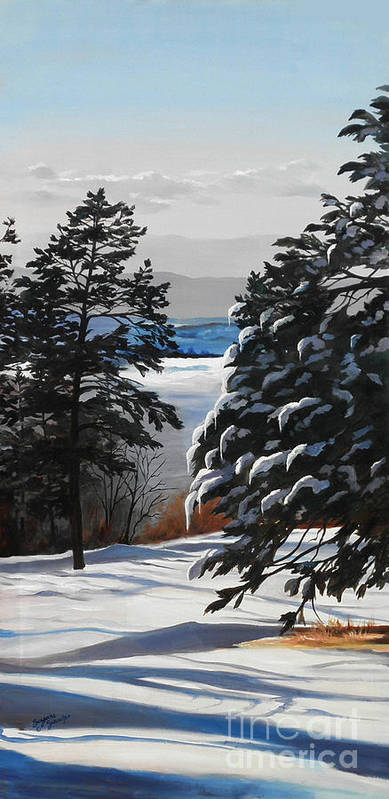 Winter Scene Art Print featuring the painting Winter Serenity by Suzanne Schaefer