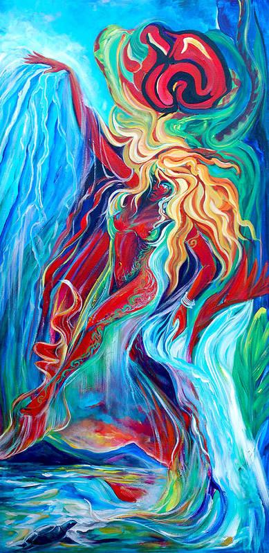 Mermaid Art Print featuring the painting Aqua Rain by Jennifer Christenson