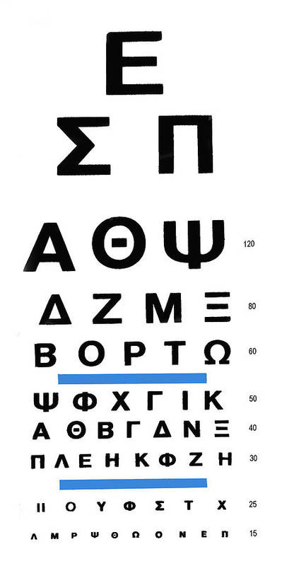 Greek Eye Chart Art Print By Larry Mulvehill