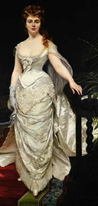 Portrait Of Mademoiselle X Art Print featuring the painting Portrait Of Mademoiselle X by Charles Emile Auguste Carolus Duran