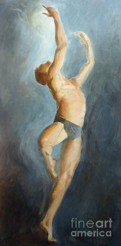 Modern Contemporary Dance Dancer Ballet Art Print featuring the painting Skybound by Ann Radley