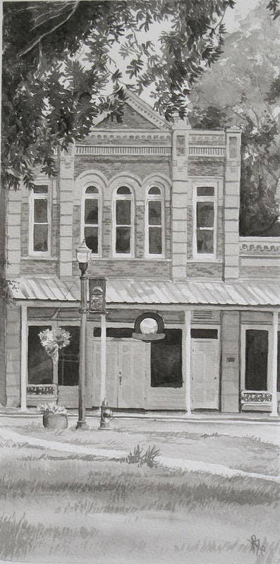 Pen And Ink Art Print featuring the painting Building On The Square by Karen Boudreaux
