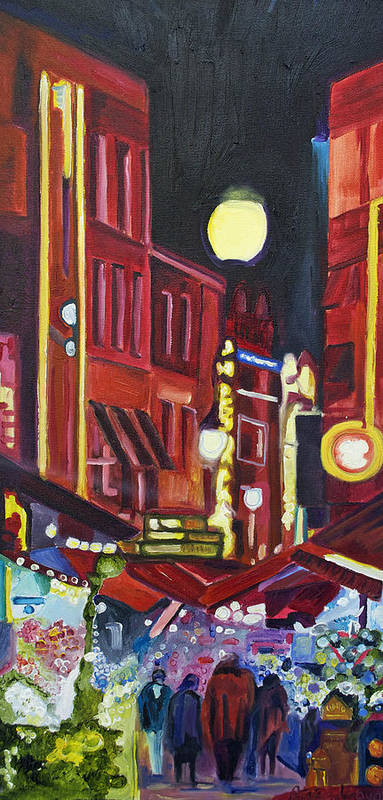 Europe Art Print featuring the painting Night Market by Patricia Arroyo
