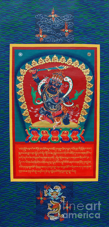 Thangka Art Print featuring the painting Arya Achala - Immovable One by Sergey Noskov