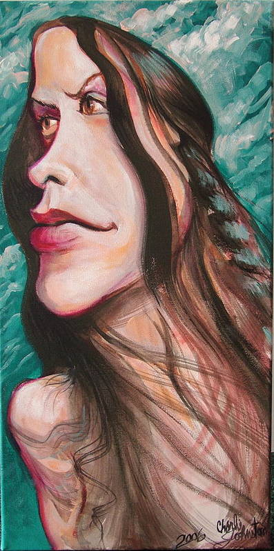 Portrait Art Print featuring the painting Alanis Morissette by Charles Johnston