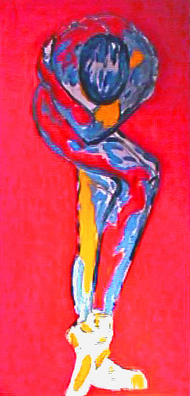 Dance Art Print featuring the painting Ballerina In Orange by Dan Earle