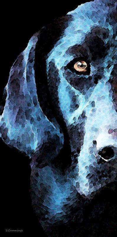 Labrador Retriever Print featuring the painting Black Labrador Retriever Dog Art - Hunter by Sharon Cummings