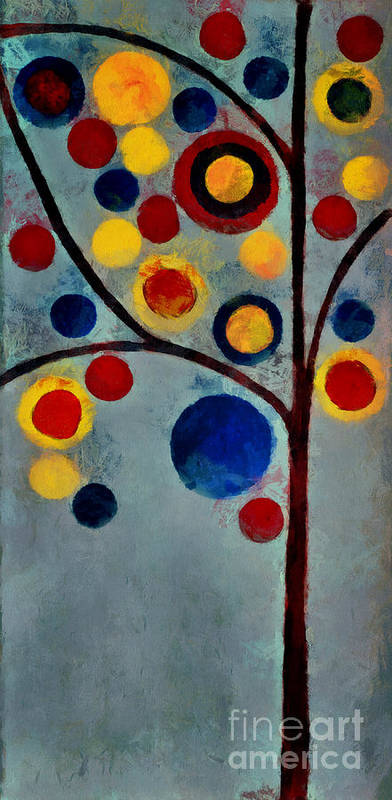 Tree Art Print featuring the painting Bubble Tree - Dps02c02f - Left by Variance Collections