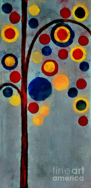 Tree Art Print featuring the painting Bubble Tree - Dps02c02f - Right by Variance Collections