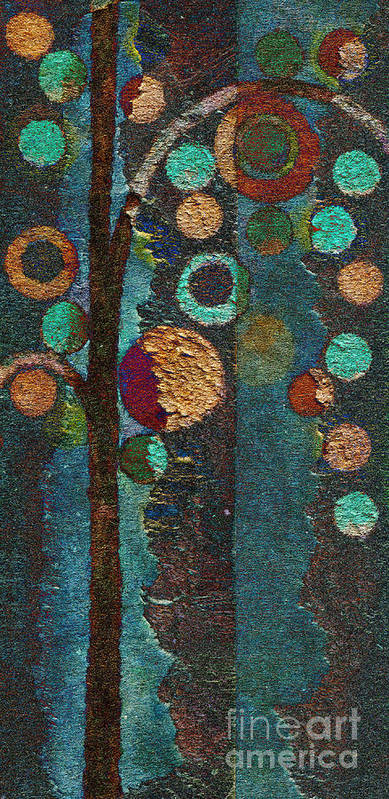 Tree Art Print featuring the painting Bubble Tree - Spc02bt05 - Right by Variance Collections