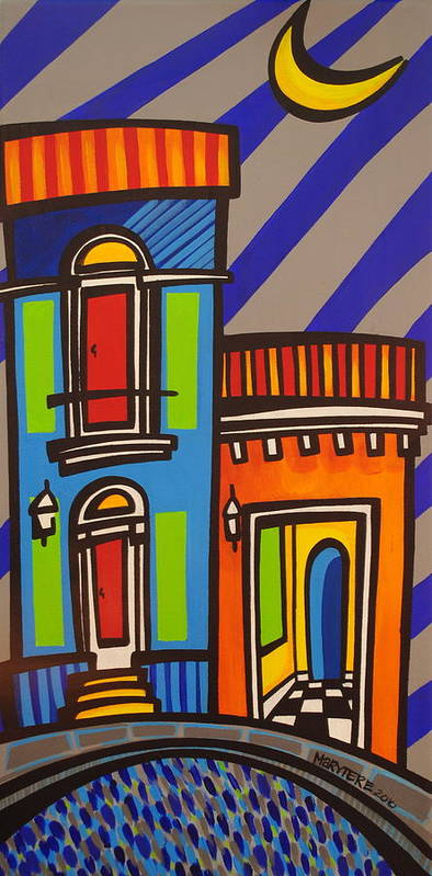 Puerto Rico Print featuring the painting Calle Luna by Mary Tere Perez