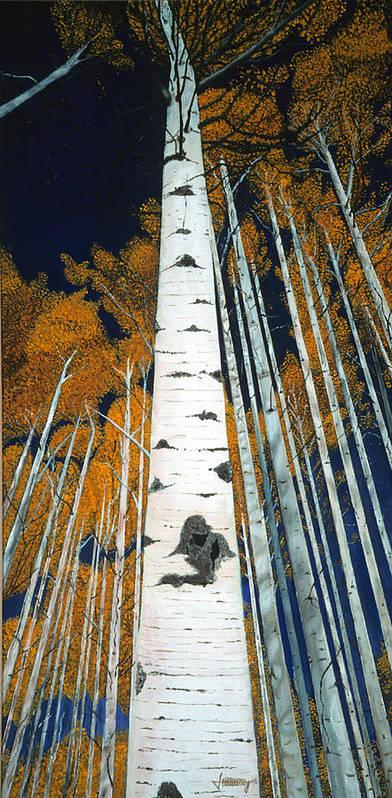 Aspen Art Print featuring the painting Colorado Aspens by JoeRay Kelley