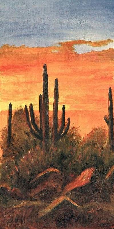 Sunset Art Print featuring the painting Desert Sunset I by Merle Blair