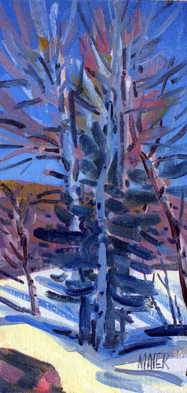 Aspens Art Print featuring the painting Early Spring Melt by Donald Maier
