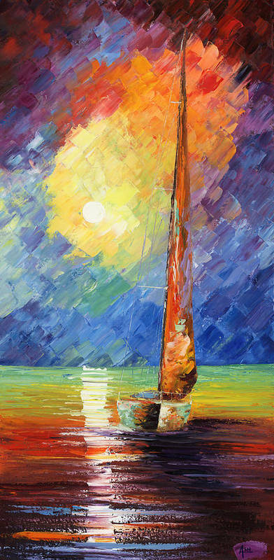 Oil Painting Art Artwork Acrylic Impressionist Impressionism Palette Knife Texture Giclee Print Reproduction Colorful Bright Evening Night Sail Sailing Love Passion Desire Quietness Quiet Reflection Relaxation Relaxed Wild Nature Water Sky Blue Red Yellow Moon Boat Marine Nautical Amor Deseo Passion Agua Azul Rojo Amarillo Luna Bote Marina Nautico Vela Tranquilidad Relajacion Waterscape Fish Fishing Color Colour Colourful Art Print featuring the painting Evening Sail by Ash Hussein