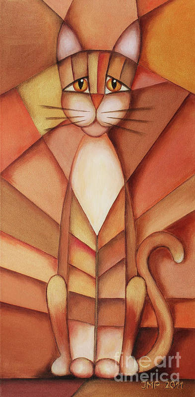 Paint Art Print featuring the painting King Of The Cats by Jutta Maria Pusl