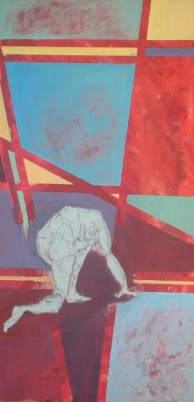Figure Kneeling Art Print featuring the painting Kneeling Figure by Aleksandra Buha