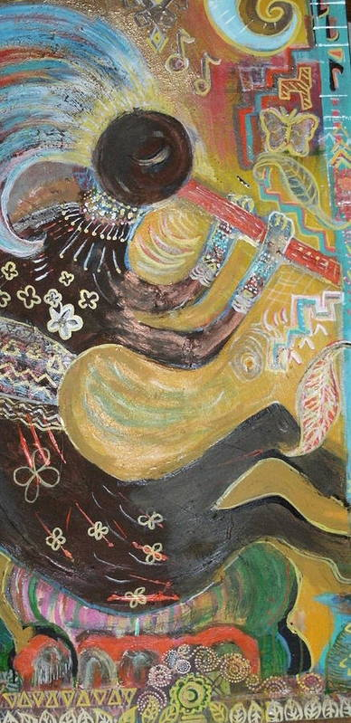 Kokopelli Art Print featuring the mixed media Kokopelli Playing His Flute by Anne-Elizabeth Whiteway