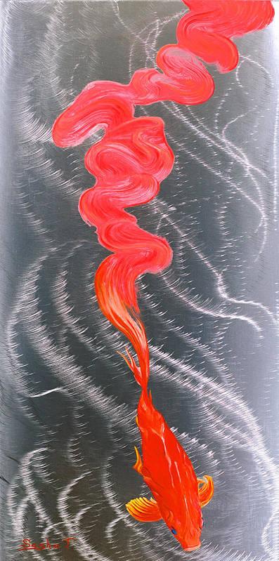 Koi Fish Metal Art Oil Painting Art Print featuring the painting Metal Art Print On Aluminum - Koi Fish Art On Metal - Abstract Fine Art Print - Koi Fish Breaking Fr by Sasha Toporovsky
