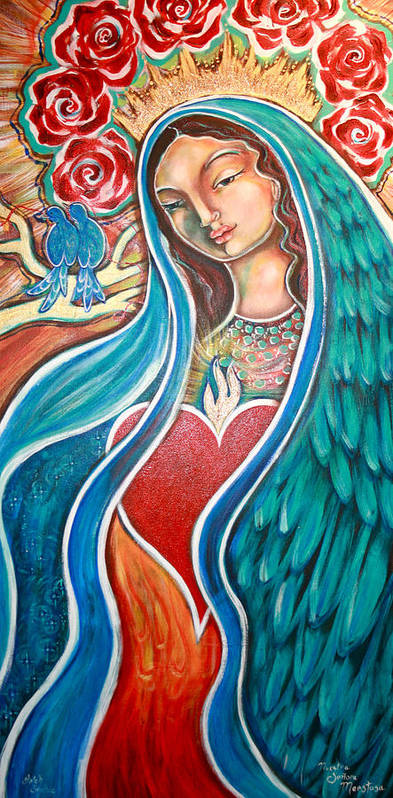 Our Lady Art Print featuring the painting Nuestra Senora Maestosa by Shiloh Sophia McCloud