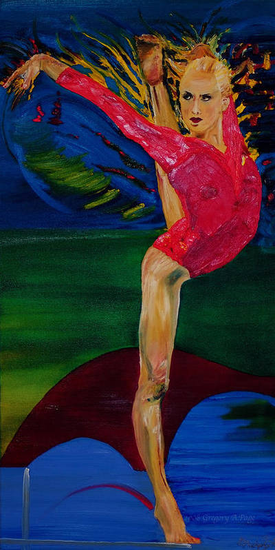Olympic Gymnast Photo Art Print featuring the painting Olympic Gymnast Nastia Liukin by Gregory Allen Page