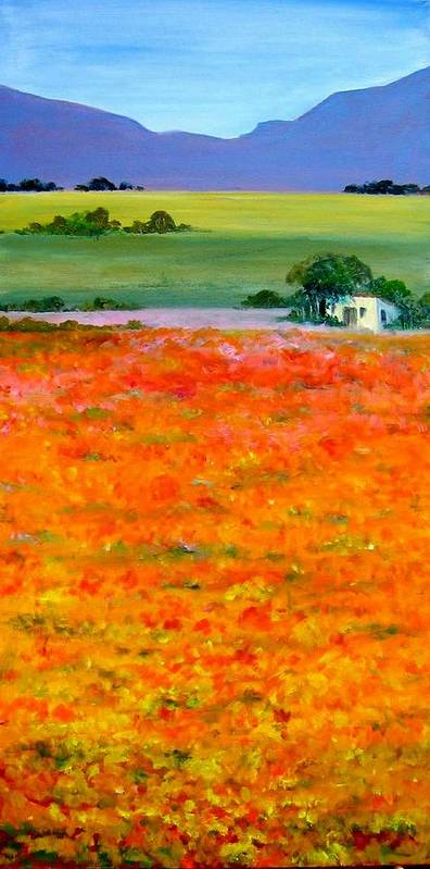 Landscape Art Print featuring the painting Oopsa Daisy by Liz McQueen