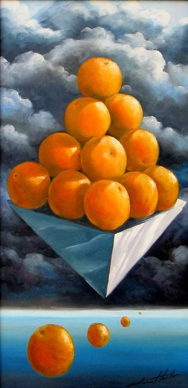 Surrealism Art Print featuring the painting Orange Pyramid In Space by Jim Horton