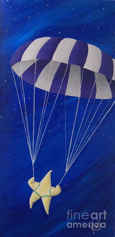 Whimsical Art Print featuring the painting Para-shooting Star by Kerri Ertman