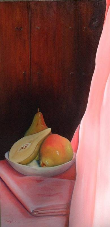 Fruit Art Print featuring the painting Pears On A Mountain by Barbara Auito
