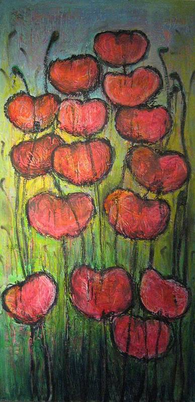 Poppies Art Print featuring the painting Poppies In Oil by Laurie Maves ART