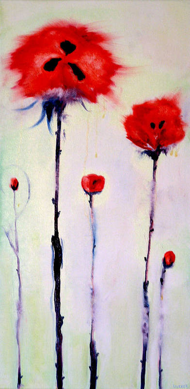Poppies Art Print featuring the painting Poppy Family by Jenna Fournier