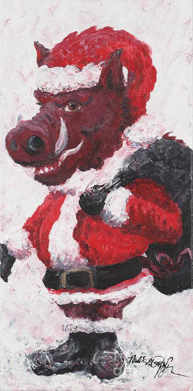 Santa Art Print featuring the painting Razorback Santa by Nadine Rippelmeyer