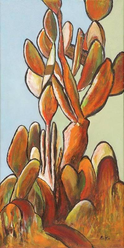 Cactus Art Print featuring the painting Sabar Cactus by Miki Sion