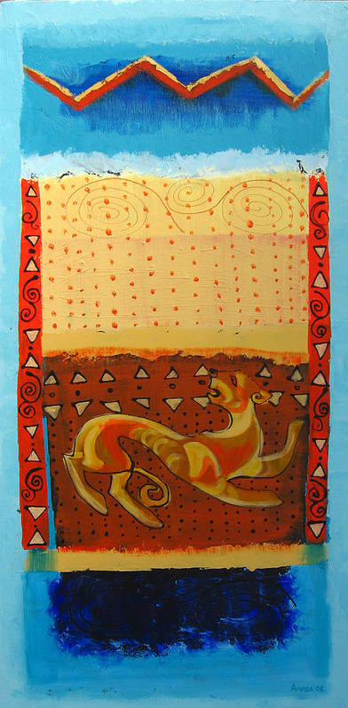 Abstract Art Print featuring the painting Scythian Gold 3 by Aliza Souleyeva-Alexander