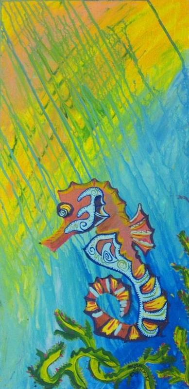 Sea Paintin Art Print featuring the painting Seahorse by Bryan Zingmark