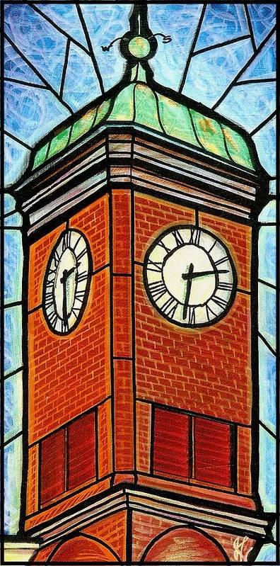 Clocks Art Print featuring the painting Staunton Clock Tower Landmark by Jim Harris