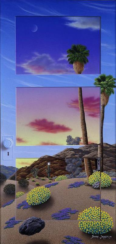 Landscape Art Print featuring the painting Sunset Door by Snake Jagger