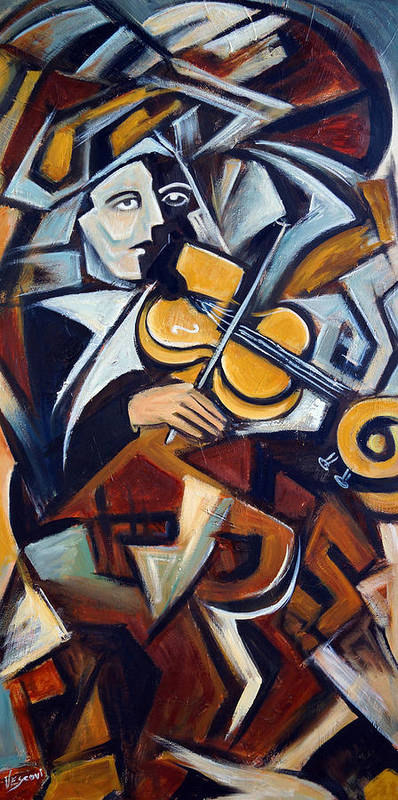 Musician Art Print featuring the painting The Fiddler by Valerie Vescovi