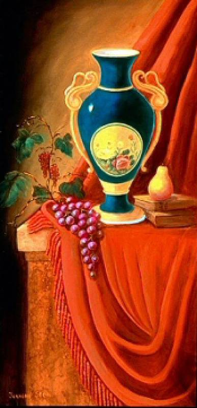 Still Life Art Print featuring the painting The Teal Vase On A Red Cloth by Jeanene Stein