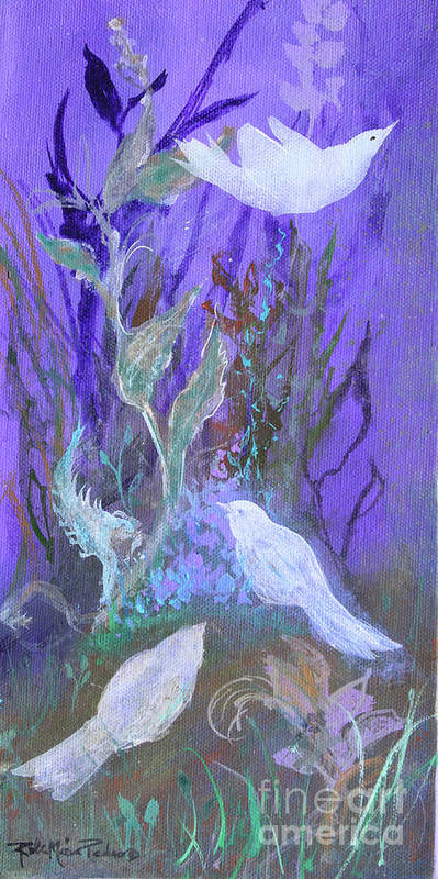 Three White Doves Art Print featuring the painting Three Doves by Robin Maria Pedrero
