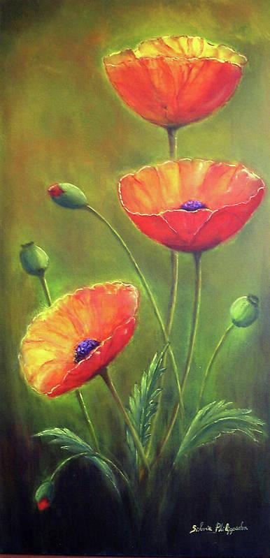 Poppies Art Print featuring the painting Three Poppies by Silvia Philippsohn