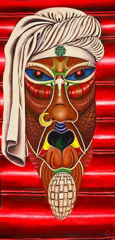 Maliksart Art Print featuring the painting Trinity Mother by Malik Seneferu