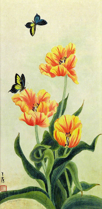 Flower Art Print featuring the painting Tulips by Ying Wong