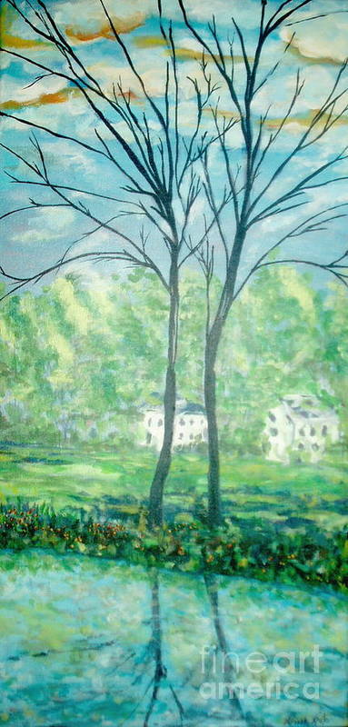 Landscape Art Print featuring the painting Twins By The Lake by Reina Resto