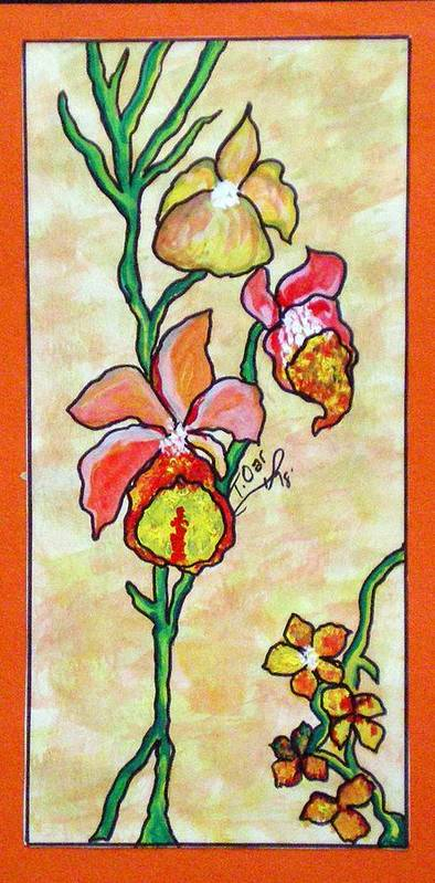 Flowers Flower Warm Art Print featuring the painting Warm Flower Study by Tammera Malicki-Wong