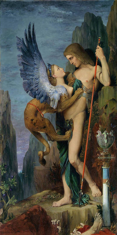 Gustave Moreau Art Print featuring the painting Oedipus And The Sphinx - Digital Remastered Edition by Gustave Moreau