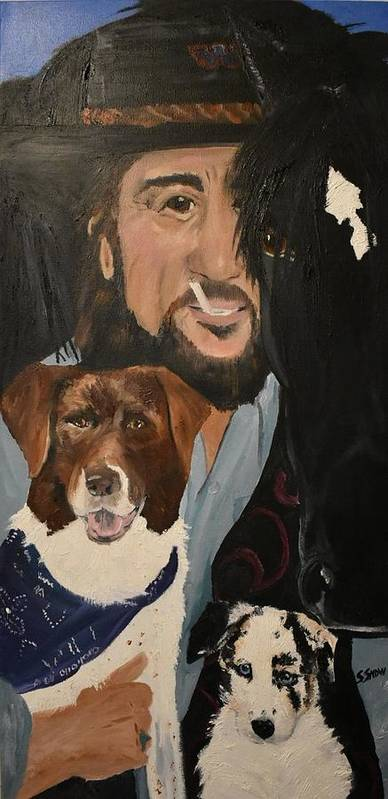Waylon Jennings Art Print featuring the painting The Dark Horse by Susan Voidets