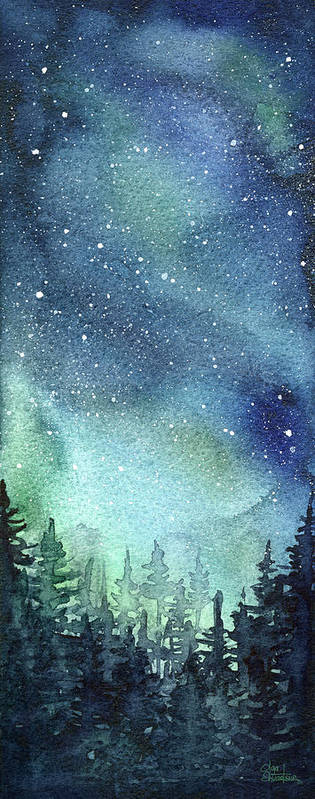 Watercolor Galaxy Art Print featuring the painting Galaxy Watercolor Aurora Painting by Olga Shvartsur